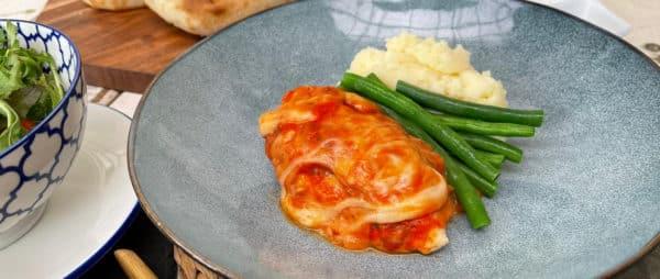 Chicken Breast Parmigiana Mash & Beans -