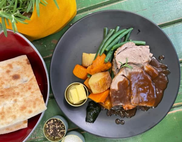 Slow Cooked Lamb Bake with Roast Vegies Green Beans Mint Jelly & Gravy -
